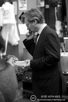 A customer ponders his purchase. | 1/320sec, f/1.8, ISO 500, 50mm