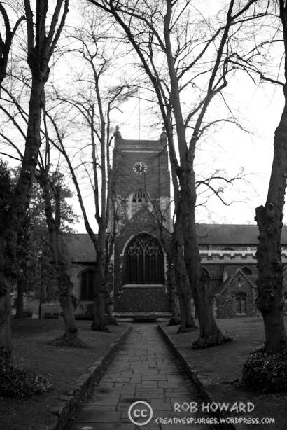 black and white church path