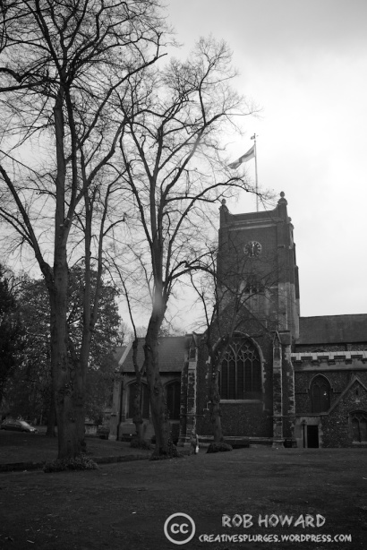 black and white shot of a church