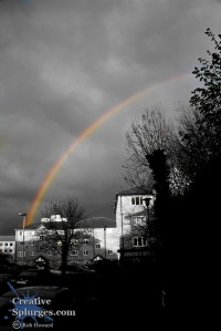 monochrome image with a colour rainbow