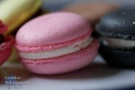 macro shot of a pink macaroon