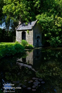 small building reflected in a pond