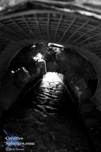 shot under a narrow bridge