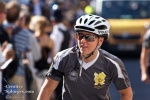 One of the cycle-bound police officers assigned to the torch relay.