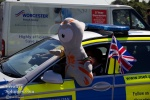 Now at Kew Bridge, one of the Olympic mascots helps out the police.