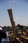 Silly person! The Olympic Flame can never be extinguished! Only... er, passed from one person to another using an elaborate system of golden torches and police escorts.