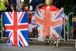A couple of kids fly the Union Flag with pride.