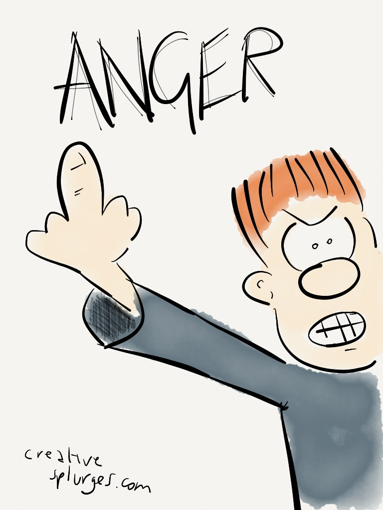how to draw an angry person