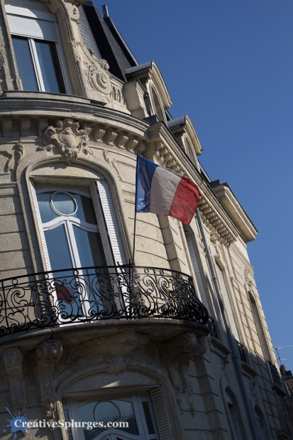 A flag flying at Reims, France